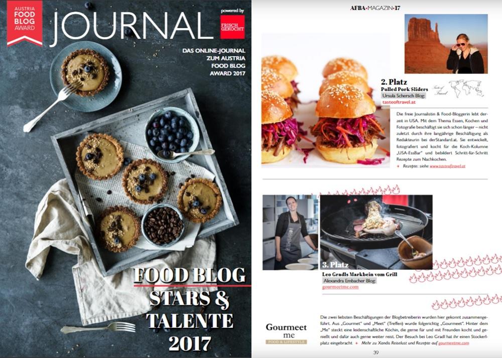 Austria Food Blog Award 2017 Taste of Travel erreicht den 2. Platz in der Kategorie Food & Travel