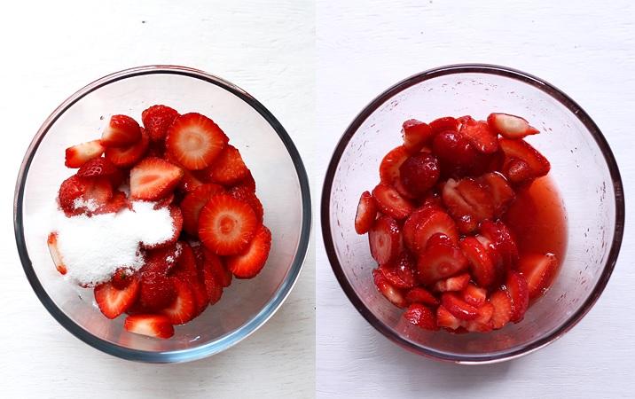 Erdbeeren mazerieren für Strawberry Shortcakes