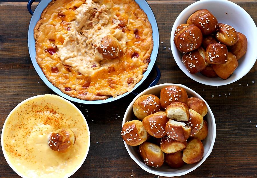 Käse Dips mit Pretzel Bites - Schritt für Schritt Rezept
