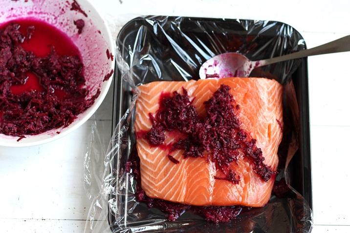 Lachs beizen rote Rüben Rezept
