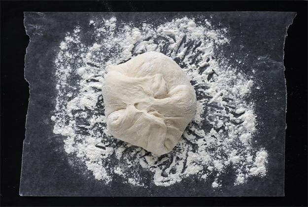 No knead Brot Teig falten