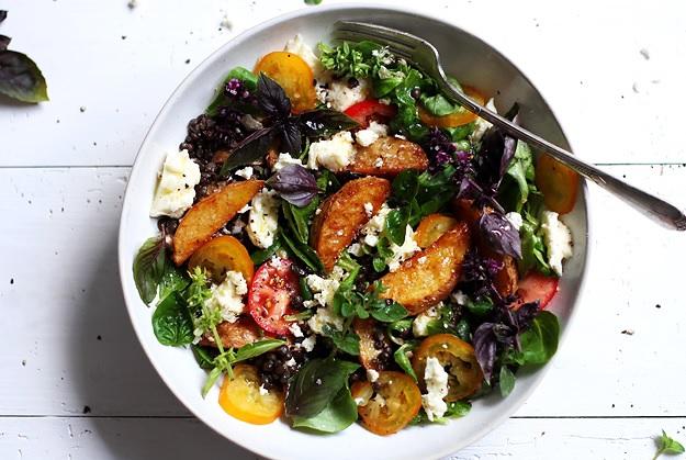Potato Wedges und Linsen Salat Rezept