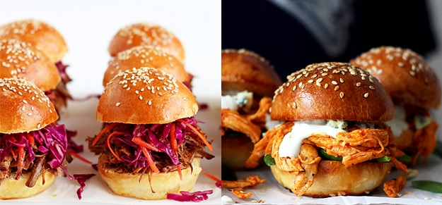 Pulled Pork Sliders and Pulled Chicken Sliders