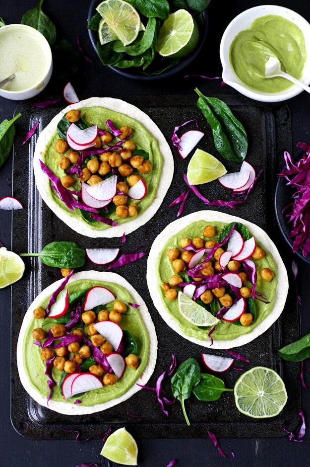 Soft Tacos mit Spinat und Kichererbsen Rezept