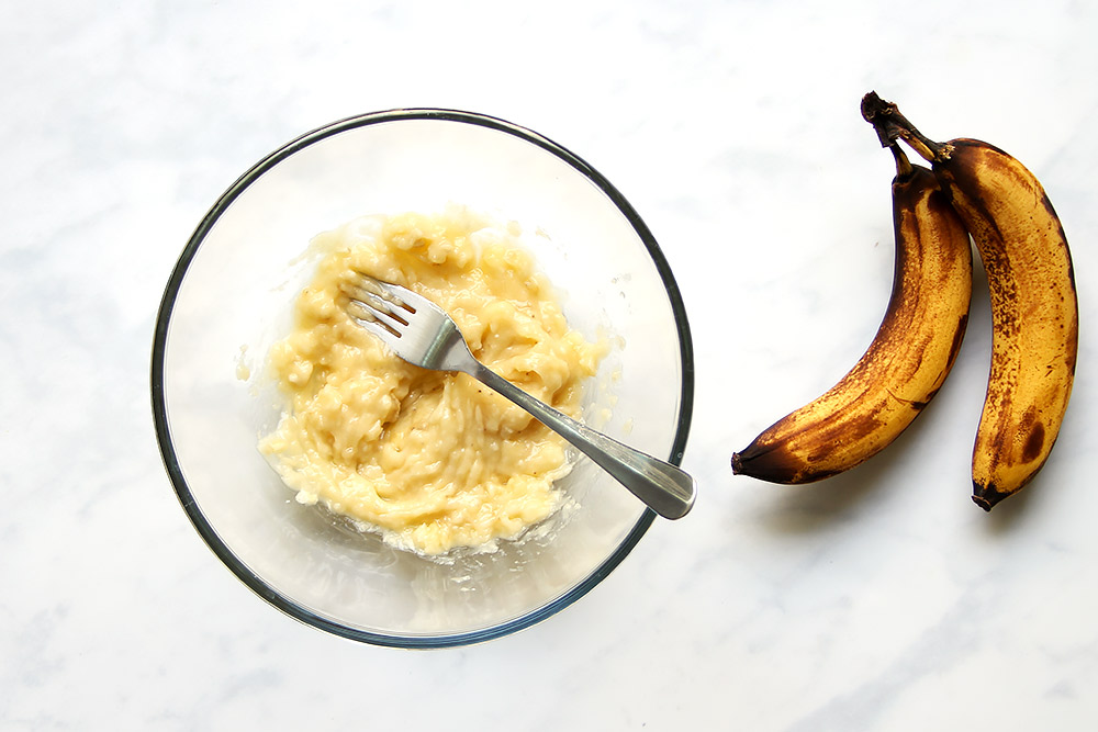 Zerdrückte Bananen für Banana Pancakes